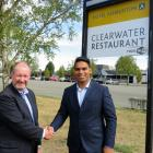Ashburton Trust chairman Chris Robertson (left) congratulates Johny Singh on the purchase of the...