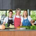 Author Pam Brook (centre) and chefs Sarah Swan and Sam Gowing. PHOTOS: ALAN BENSON