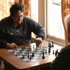 Hildon Nisa, of Dunedin, and David Reid, of Herbert (below) play a game of chess at the Otago...