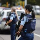 Police at the scene in Christchurch this afternoon. Photo: NZ Herald