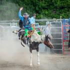New Zealand's 2020 saddle bronc riding champion Jeremy Dillon rode one of Tim Costello's bucking...