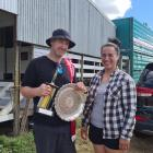 North Canterbury shearer Troy Pyper celebrates after winning the Amuri shears earlier this month,...