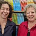 New Otago University Press publisher Dr Sue Wootton (left) and retiring publisher Rachel Scott....