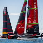 Team New Zealand and Luna Rossa in warm-up in Auckland. Photo by Sailing Energy/Getty Images