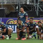 The Highlanders perform the Hautoa Kia Toa haka at Forsyth Barr Stadium in Dunedin last Friday...