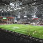 Empty seats can be seen during the round 5 Super Rugby Aotearoa match between the Highlanders and...