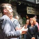 Act New Zealand leader David Seymour thanks Invercargill voters, watched by MPs Toni Severin and...