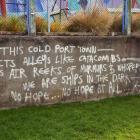 Graffiti on the wall near Lyttelton Primary School.  Photo: Geoff Sloan