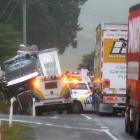 This crash on SH1 north of Herbert left about 90 customers without electricity supply. PHOTO:...
