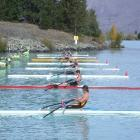 Rowers get into their race rhythm in the single sculls during the semifinals at the Maadi Cup on...