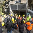 Families at the entrance to the mine in May 2019. Photo: Pike River Recovery Agency