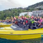 Entrants are all smiles before the start of the 3.8km Wakatipu Legend swim at Lake Wakatipu's...