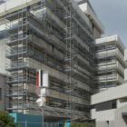 Scaffolding covers the Library Plaza face of the Dunedin Civic Centre. PHOTO: GERARD O'BRIEN