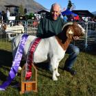 Whitestone Boers owner Owen Booth, of Milton, and his supreme champion goat at the Wanaka A&P...
