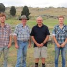 Waiting for the bidders before the Little Valley Station merino sale last week, are (from left)...