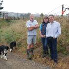 Mosgiel-Taieri Community Board deputy chairman Dean McAlwee (right) and farm owners Ad Bekkers ...