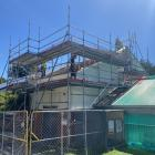 Stewart Construction builders work on the Fairfield School hall attic extension project recently...