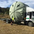 Fourteen 30,000-litre plastic tanks and associated piping are being installed near Akaroa's...