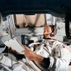 Command Module pilot Michael Collins practices in the CM simulator at Kennedy Space Cente. Photo:...