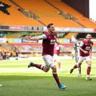Burnley's Chris Wood celebrates his hat-trick against Wolverhampton Wanderers. Photo: Reuters