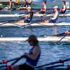 University of Otago duo Ben Mason and Kobe Miller (in blue and gold) fly out of the start on...