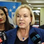 National Party leader Judith Collins with housing spokeswoman Nicola Wills (L) and Infrastructure...