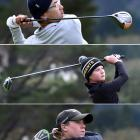 Auckland's Ethan Law (15, top) and Christchurch's Cooper Moore (12) and Max Edwards (15) tee off...