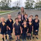 The all-male year 0-3 junior class at Omihi Primary School in Waipara, with their teacher Penny...