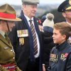 New Zealand Defence Force Colonel Kate Lee speaks to Tahuna Normal Intermediate School pupil Josh...
