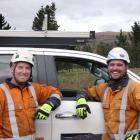 Electrix transmission and distribution line mechanics Scott Mulcahy (left) and Sean ''Stewie''...