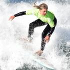 Rewa Morrison, of Dunedin, competes in the under-14 girls final yesterday. PHOTOS: PETER MCINTOSH