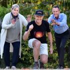Dunedin ultra-marathon runner Glenn Sutton (47, centre) prepares yesterday for his longest...