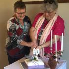 Mid Otago Federation of Women's Institutes president Kate Cochrane (left) and National Executive...