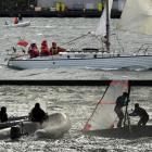 Eventual winner Valkyr (top) sails on in the Otago Yachting Association Festival Regatta, while...