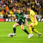 Dylan Pierias of Western United and Jaushua Sotirio of the Wellington Phoenix during the A-League...