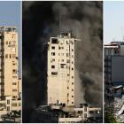 Combination picture shows a tower building before and after it was destroyed by Israeli air...