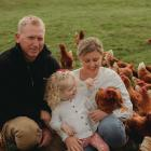 Kelly and Morgan Campbell, with daughter Sage (2), own a free-range egg business in the Waimate...