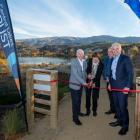 Sir Eion and Jan Lady Edgar (left), Central Otago Queenstown Trails Trust chairman Stephen...