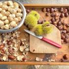 Shelled nuts in their papery husk, top left. Chestnuts come in prickly casings, centre. PHOTO:...
