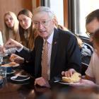 German Ambassador to New Zealand Stefan Krawielicki meets University of Otago students (from left...