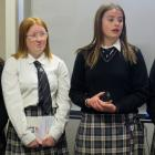 (From left) Maddie Webb, Estella Lister, Layla Manning and Sienna McGinity speaking at Monday's...