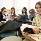 Taking part in a reading marathon at Columba College Library on Saturday are (from left) twins...