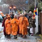 Dunedin Buddhists celebrate the Buddha's birthday as they walk to All Saints' Church, in North...