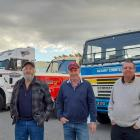Parking up in Ashburton during a social classic truck run are (from left) David Diamond, of...