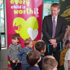Minister of Education Chris Hipkins announcing extra funding to give early childhood teachers pay...