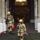 Fire crews blocked off Stuart St after an electrical fire at King Edward Court this morning....