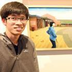 Auckland artist Gavin Chai (23) with his award-winning painting,  Howick. PHOTO: LINDA ROBERTSON