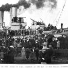 Visitors crowd to tour HMS Chatham on the Dunedin wharf on May 22, 1921. — Otago Witness, 31.5.1921