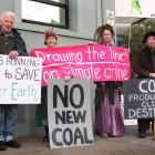 Extinction Rebellion Invercargill members (from left) Patrick Burrowes, Rayleen Carston, Heather...