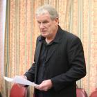 Oamaru Whitestone Civic Trust chairman Graeme Clark speaks at the Waitaki District Council's long...